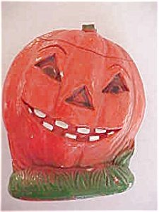 373423: Wonderful old chalk Pumpkin w/snaggled teeth