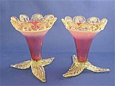 373573: Pair of Antique Cranberry Opalescent Vases