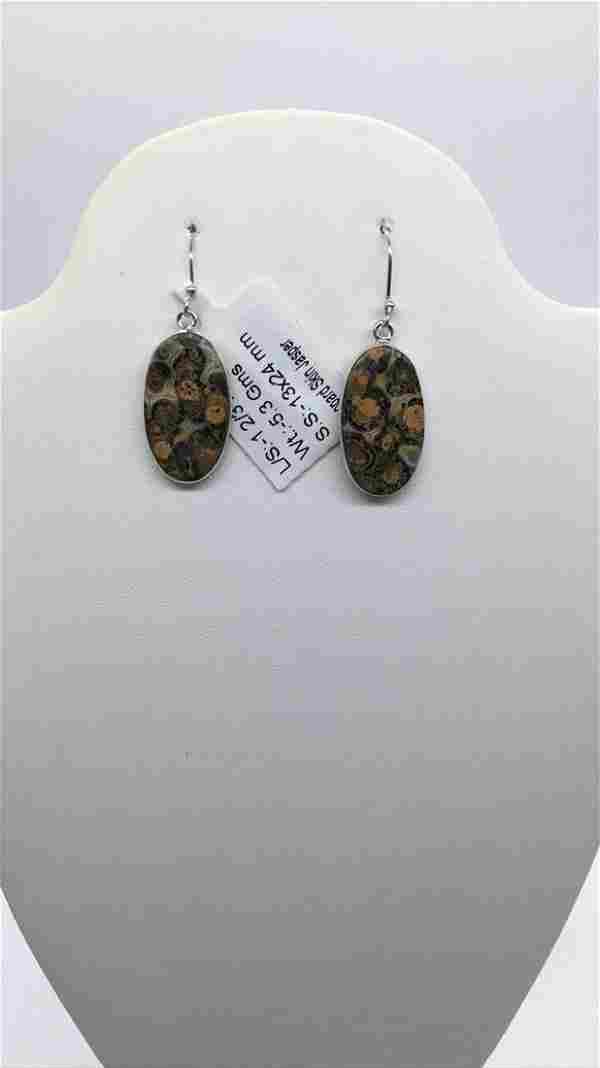Silver Leopard skin Jasper earrings