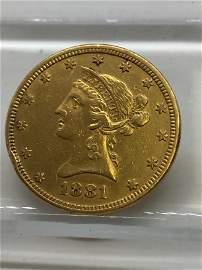 1881 $10 Gold Coin