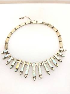 A:Calvin Begay opal necklace sterling silver