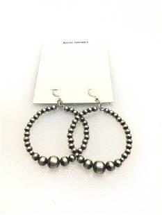 A: Handmade Navajo Bead Hoop Earrings