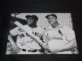 WILLIE MAYS STAN MUSIAL AUTOGRAPH PHOTO W/COA