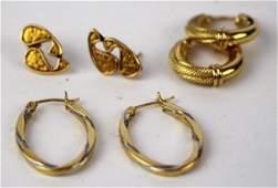 TWO PAIR OF 14K GOLD  18K EARRINGS