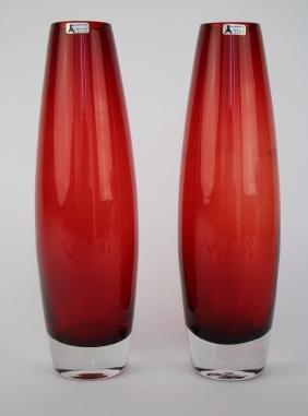 PAIR OF SWEDISH SEDA MID CENTURY RUBY GLASS VASES