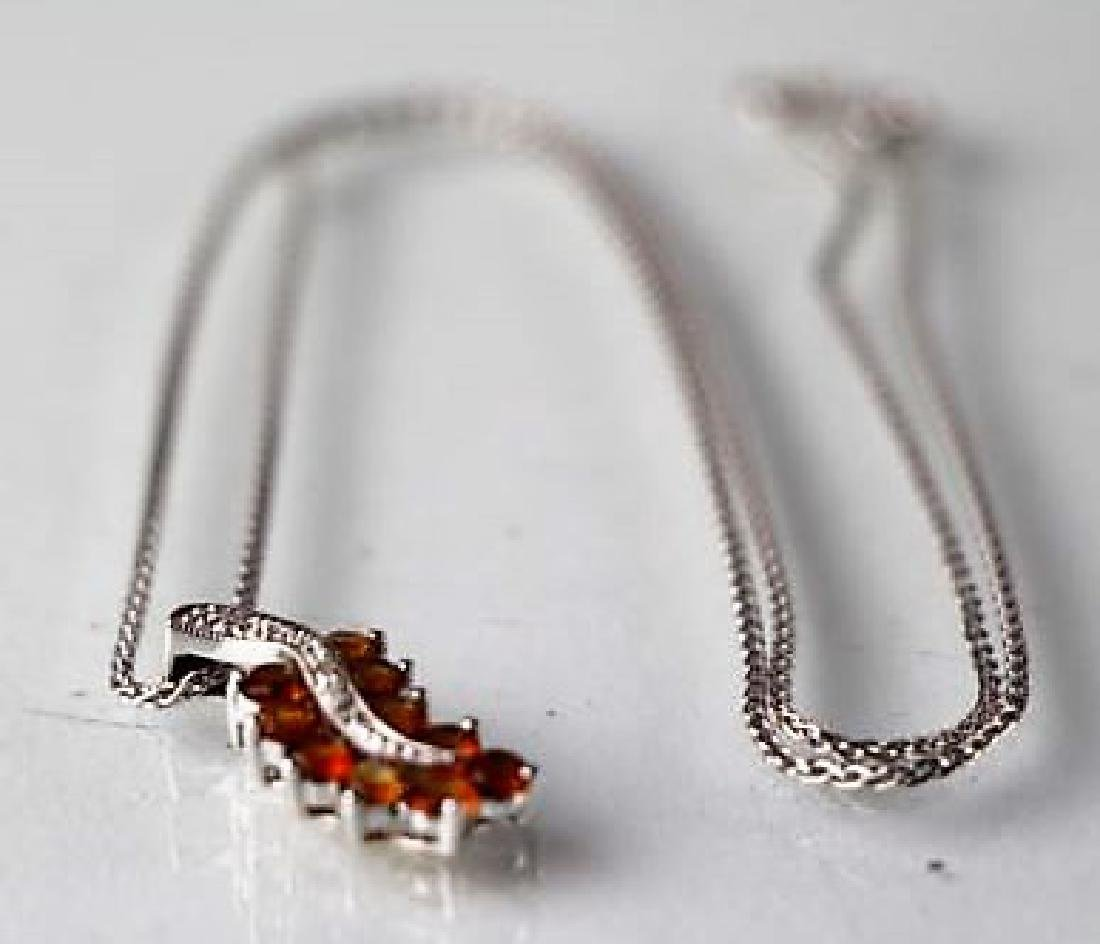 10K WHITE GOLD NECKLACE WITH 14K CITRINE PENDANT
