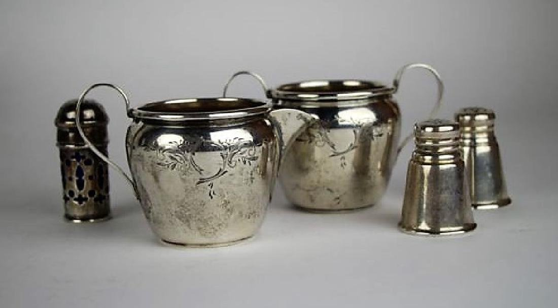 SILVER CREAM & SUGAR WITH SHAKERS