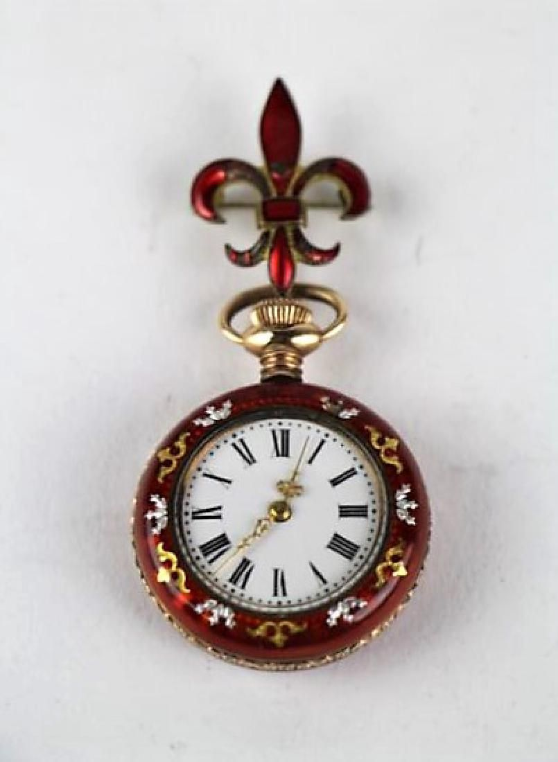 """SILVER AND ENAMEL """"CAVOUR"""" POCKET WATCH"""