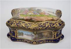 19th CENTURY SEVRES STYLE PORCELAIN SEWING BOX