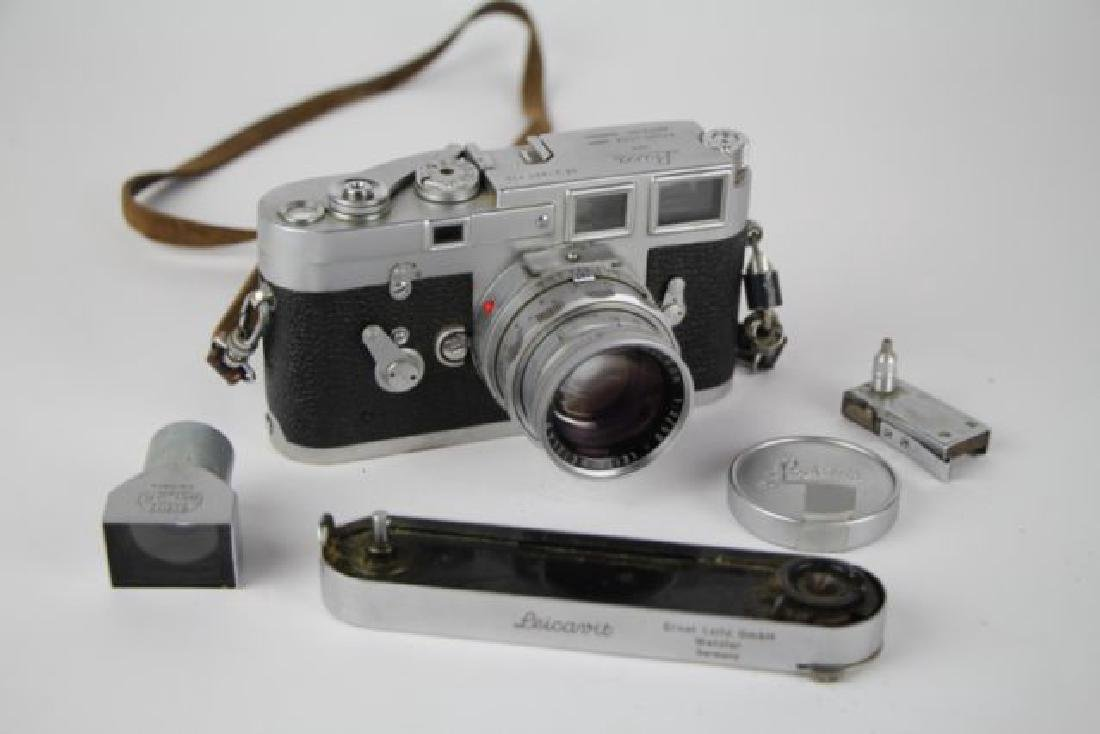 LEICA LEITZ M3 35 MM CAMERA WITH LENS AND CASE