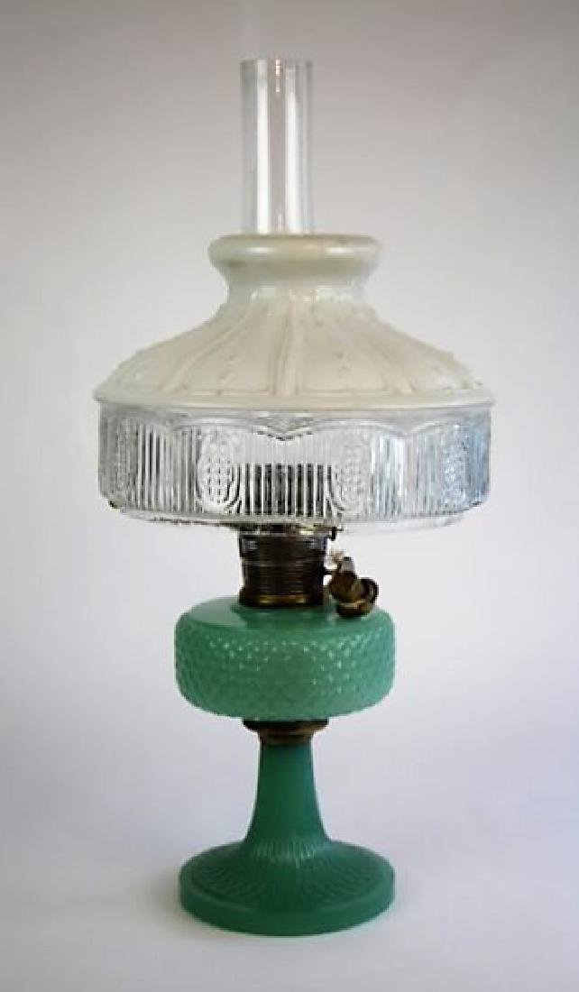 "ALADDIN JADE GREEN ""DIAMOND QUILT"" OIL LAMP"