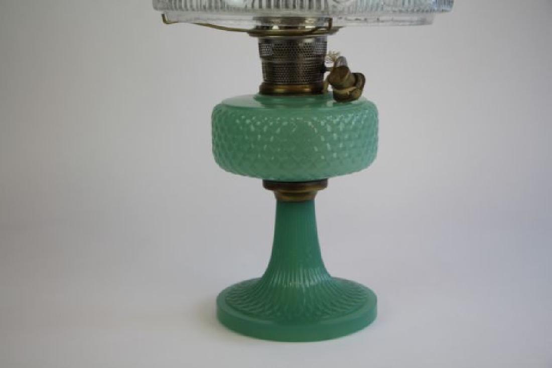"ALADDIN JADE GREEN ""DIAMOND QUILT"" OIL LAMP - 3"