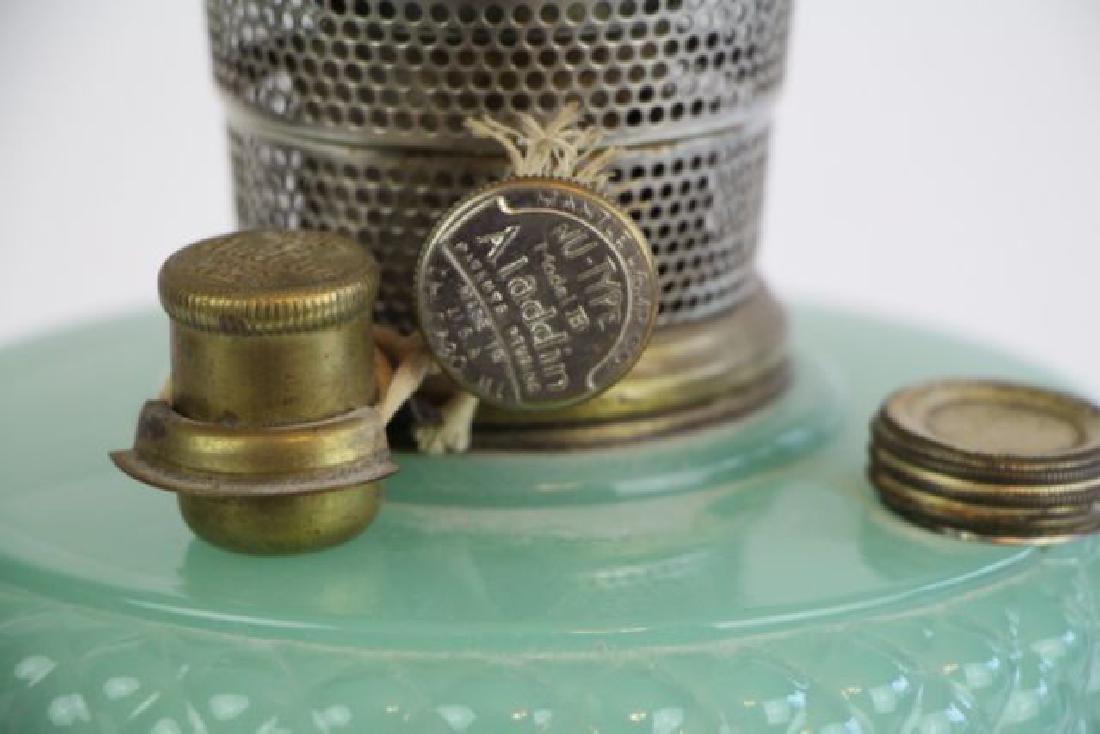 "ALADDIN JADE GREEN ""DIAMOND QUILT"" OIL LAMP - 4"