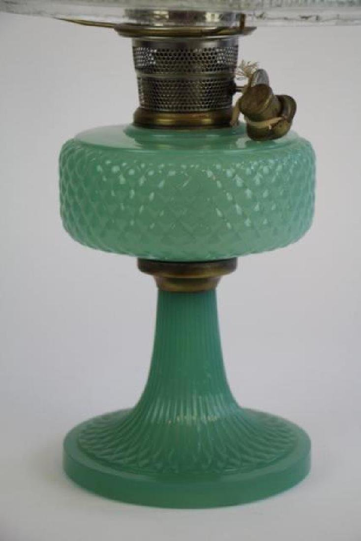 "ALADDIN JADE GREEN ""DIAMOND QUILT"" OIL LAMP - 5"