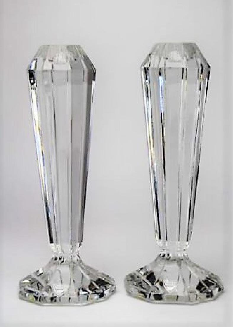 PAIR ORREFORS GLASS CANDLE HOLDERS