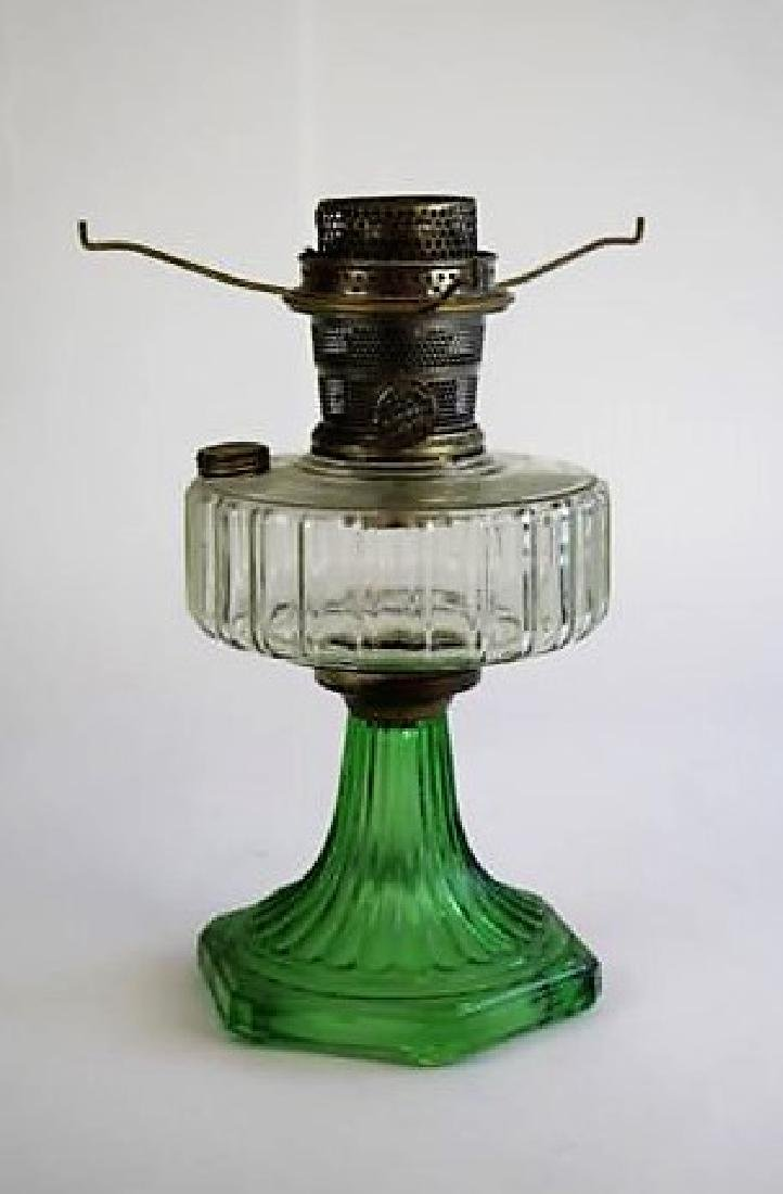 "ALADDIN GREEN AND CLEAR ""CORINTHIAN"" OIL LAMP"