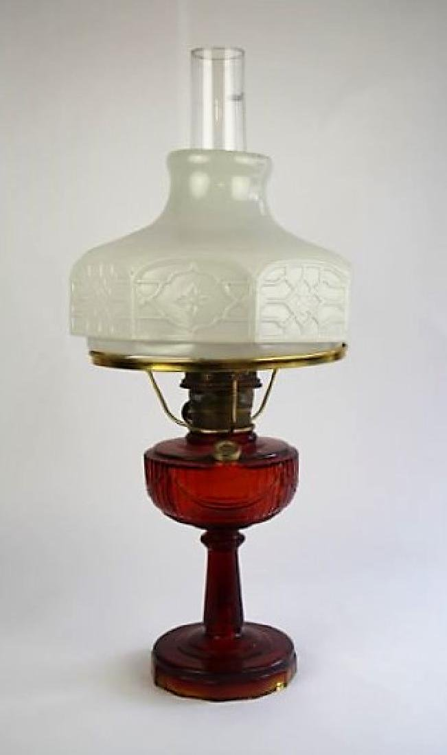 "ALADDIN RUBY RED ""TALL LINCOLN DRAPE"" OIL LAMP"