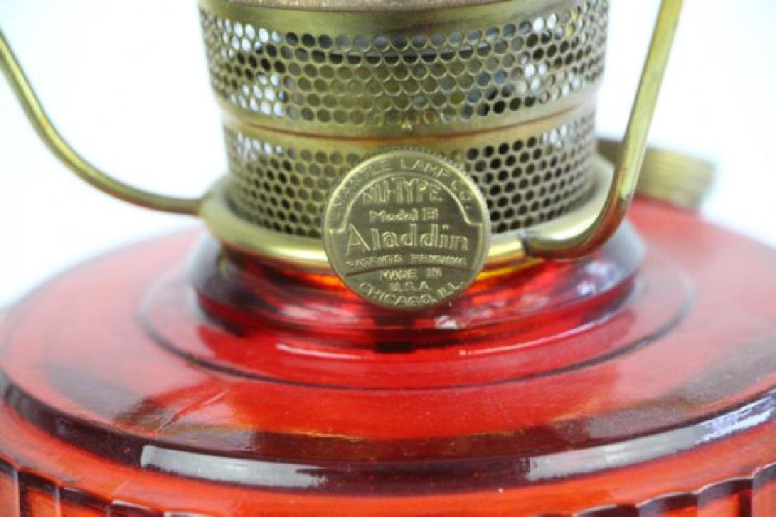 "ALADDIN RUBY RED ""TALL LINCOLN DRAPE"" OIL LAMP - 2"