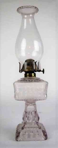 "19TH CENTURY ""CRYSTAL WEDDING"" PATTERN OIL LAMP"