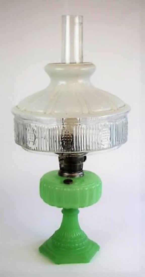 "ALADDIN JADE GREEN ""CATHEDRAL"" OIL LAMP"
