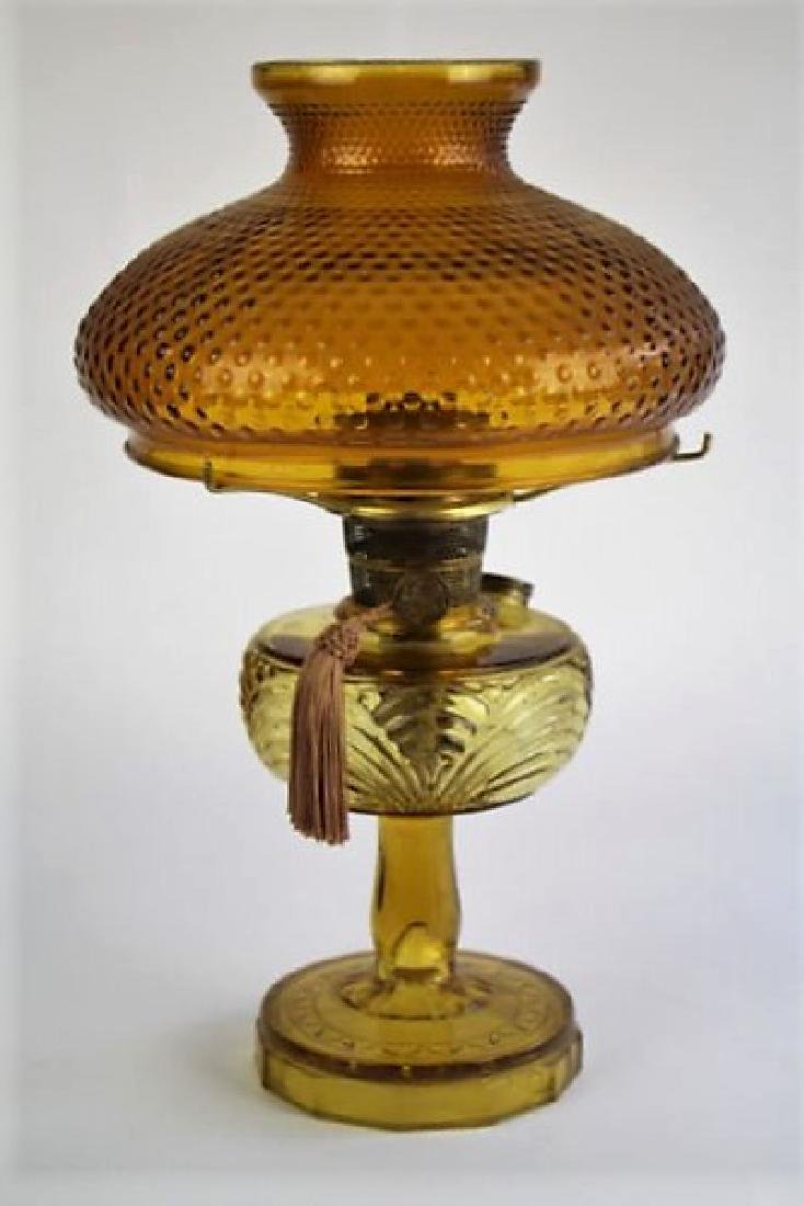 "ALADDIN AMBER ""WASHINGTON DRAPE"" OIL LAMP"