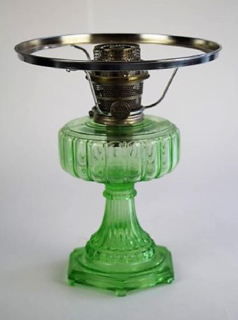 "ALADDIN GREEN ""CATHEDRAL"" OIL LAMP"