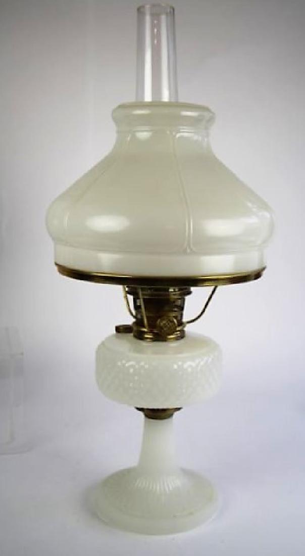 "ALADDIN WHITE ""DIAMOND QUILT"" OIL LAMP - 4"