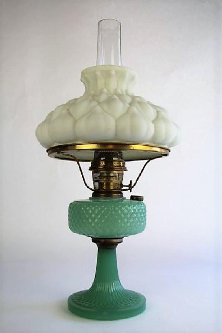 "ALADDIN ""DIAMOND QUILT"" JADE GREEN OIL LAMP"