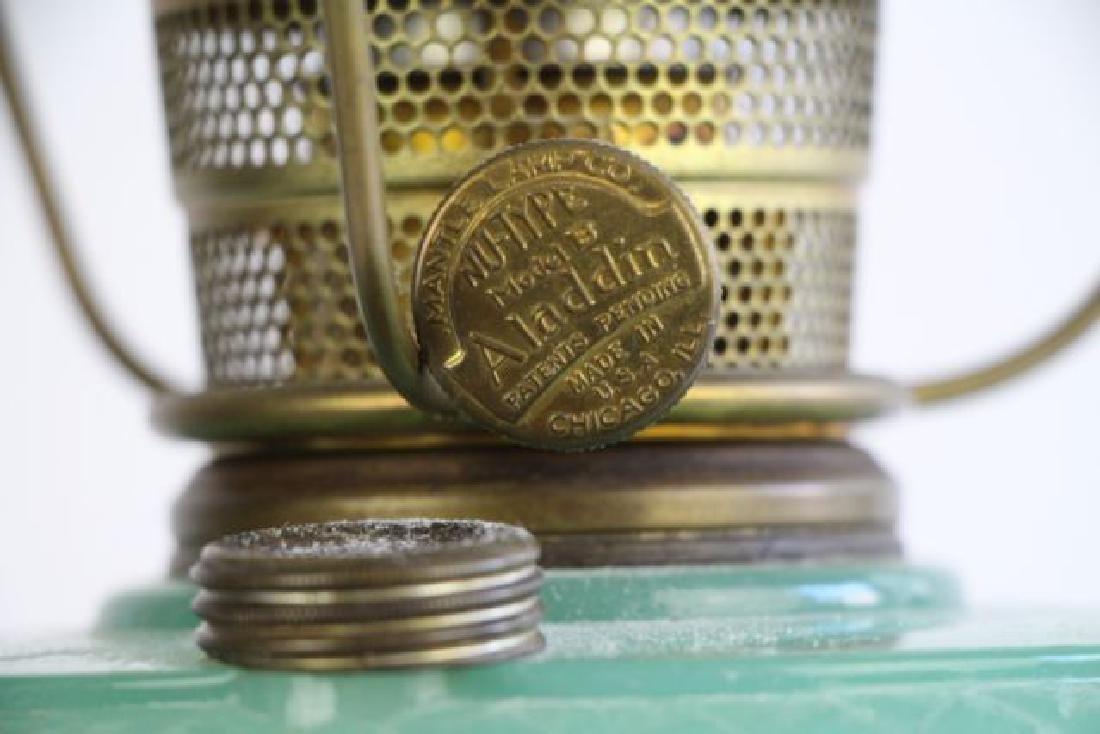 "ALADDIN ""DIAMOND QUILT"" JADE GREEN OIL LAMP - 3"