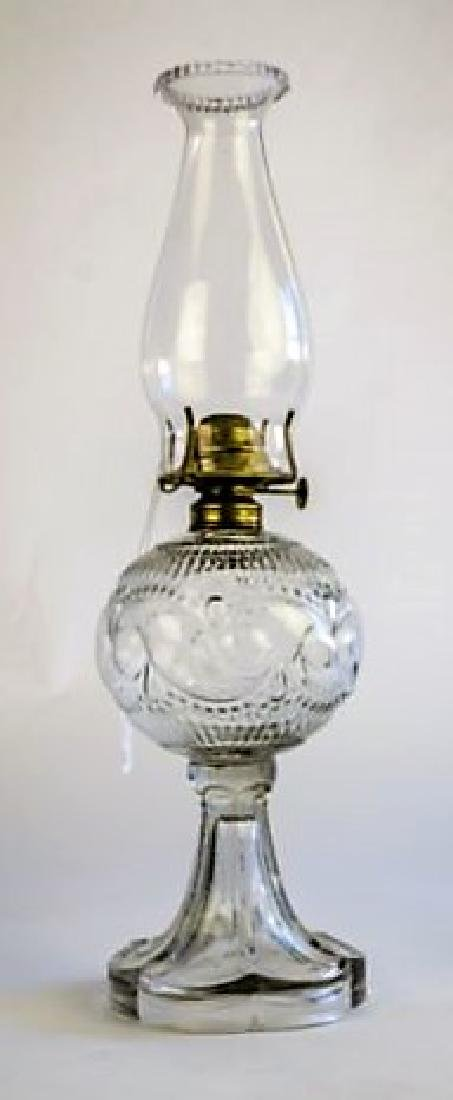 "ANTIQUE OIL LAMP ""BEADED SCROLL"" PATTERN"