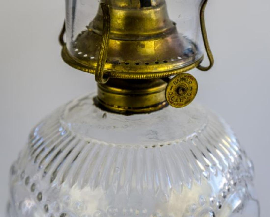 "ANTIQUE OIL LAMP ""BEADED SCROLL"" PATTERN - 3"