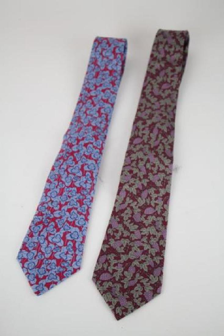 TWO HERMES MEN'S SILK NECK TIES