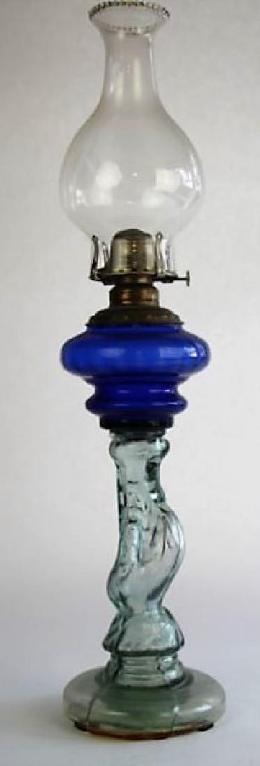 19TH CENTURY COBALT FIGURAL OIL LAMP
