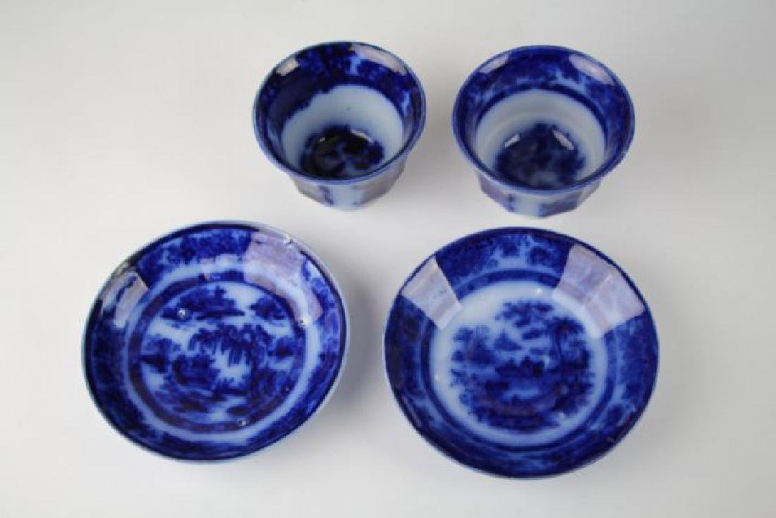 19TH C. FLOW BLUE HANDLE LESS CUPS & SAUCERS - 2
