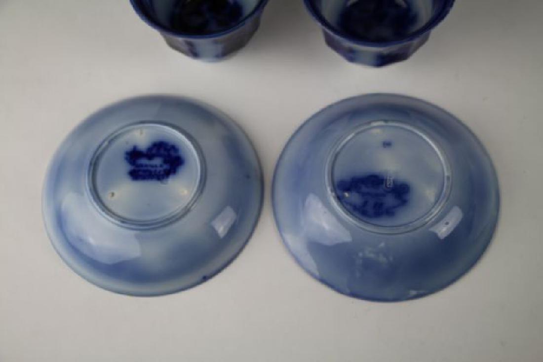 19TH C. FLOW BLUE HANDLE LESS CUPS & SAUCERS - 3