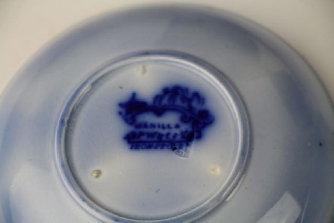 19TH C. FLOW BLUE HANDLE LESS CUPS & SAUCERS - 4