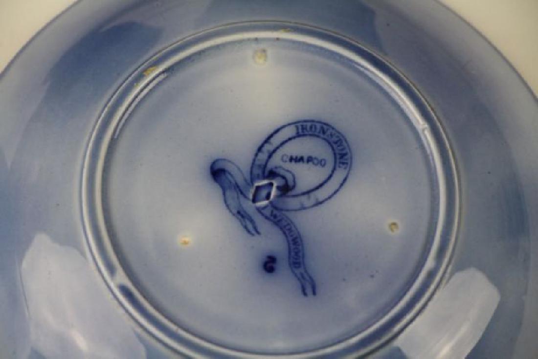 19TH C. FLOW BLUE HANDLE LESS CUPS & SAUCERS - 9