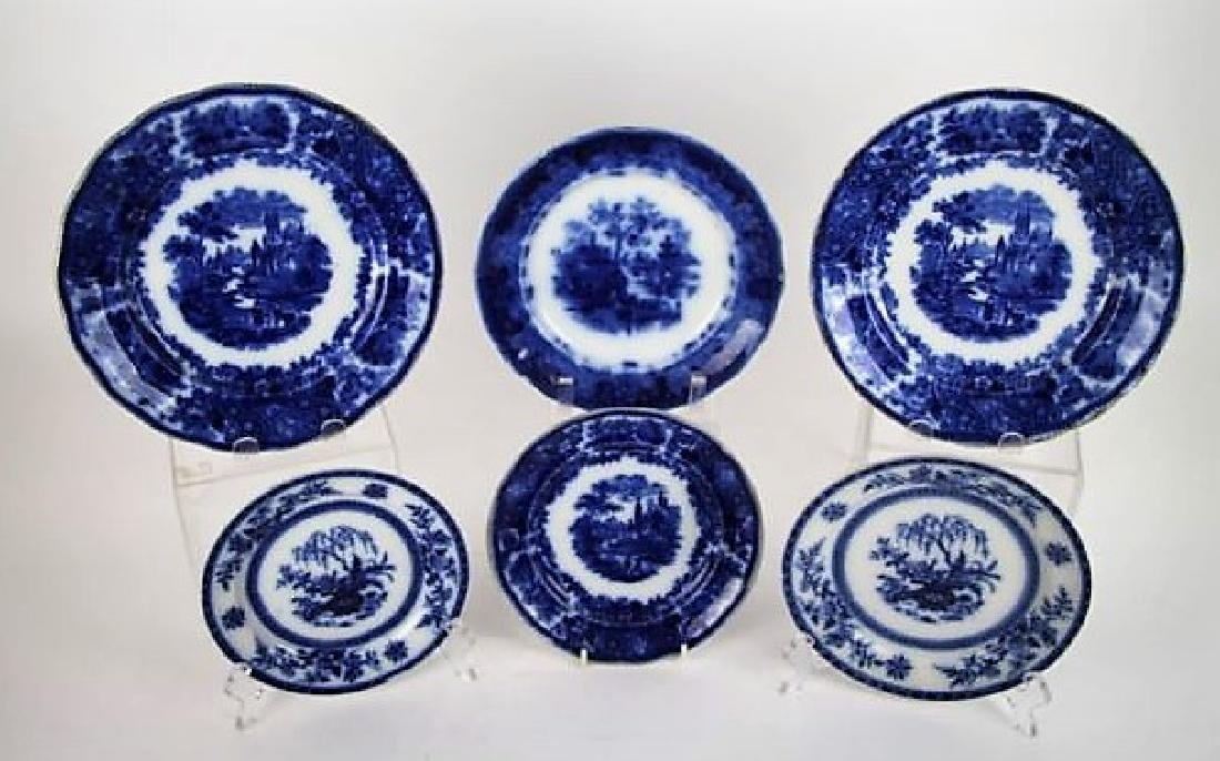 LOT OF SIX FLOW BLUE AND TRANSFERWARE PLATES