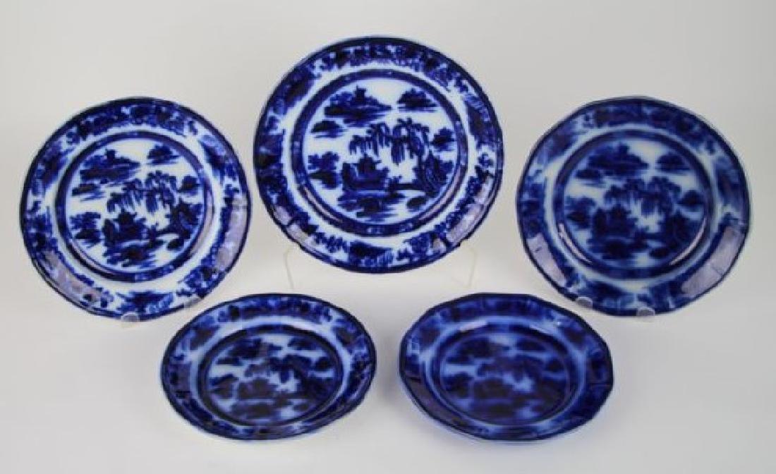 "SIX FLOW BLUE PLATES IN ""MANILLA"" PATTERN"