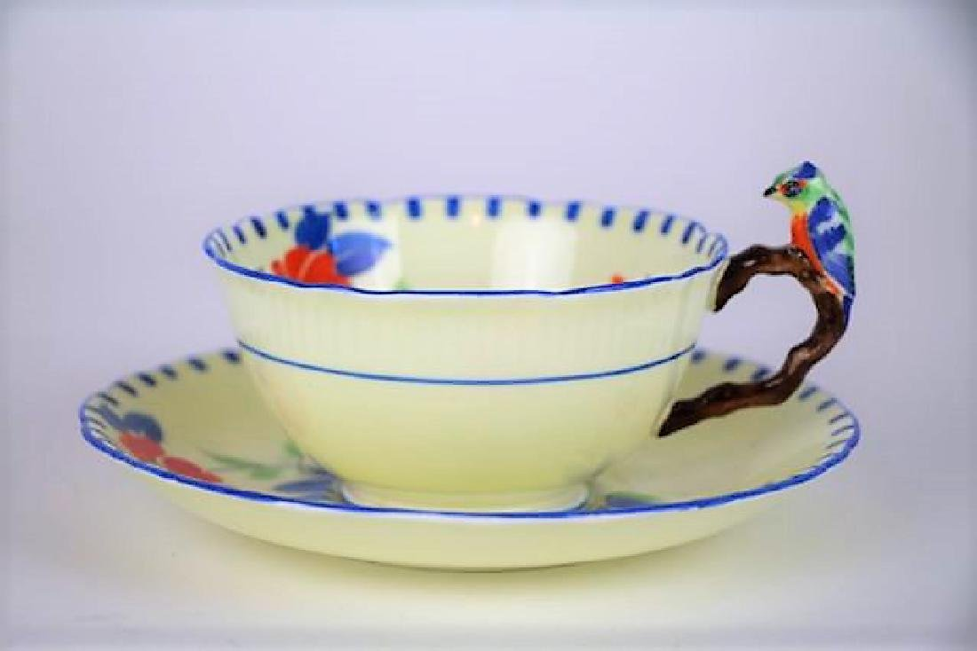 ROYAL GRAFTON CUP AND SAUCER WITH BIRD HANDLE
