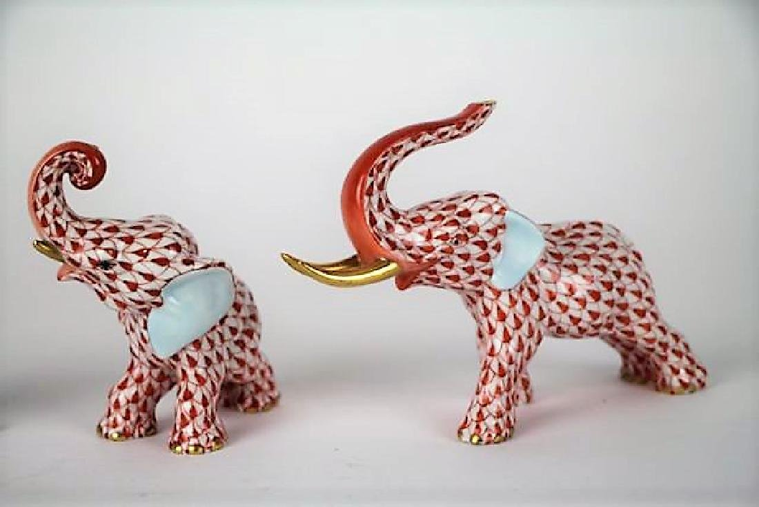 HEREND PORCELAIN ELEPHANTS AND UNICORN - 2