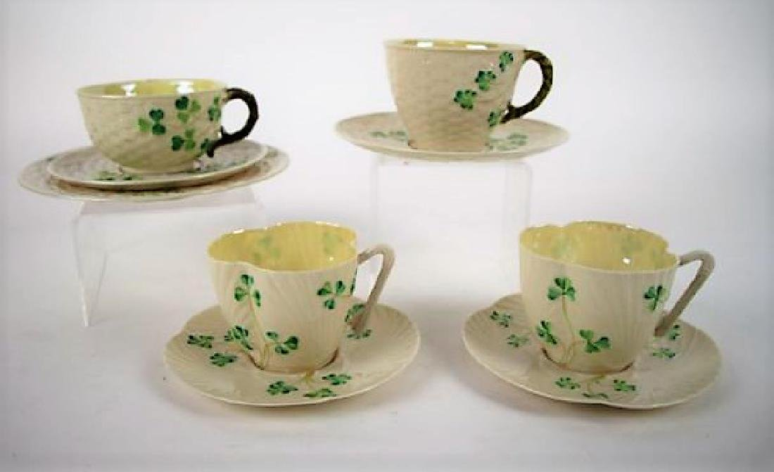 THREE BELLEEK CUPS & SAUCERS AND TRIO