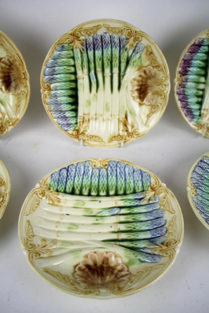 SET OF SIX FRENCH MAJOLICA  ASPARAGUS PLATES - 3