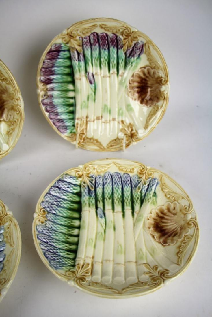 SET OF SIX FRENCH MAJOLICA  ASPARAGUS PLATES - 4
