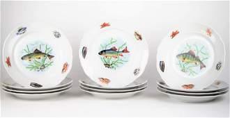SET OF TWELVE FRENCH FISH PLATES