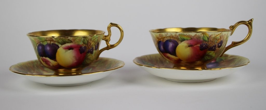 PAIR OF AYNSLEY FRUIT PATTERN CUPS AND SAUCERS