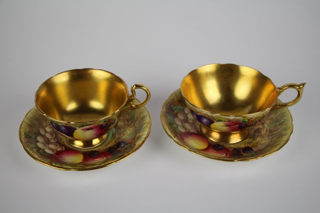 PAIR OF AYNSLEY FRUIT PATTERN CUPS AND SAUCERS - 2