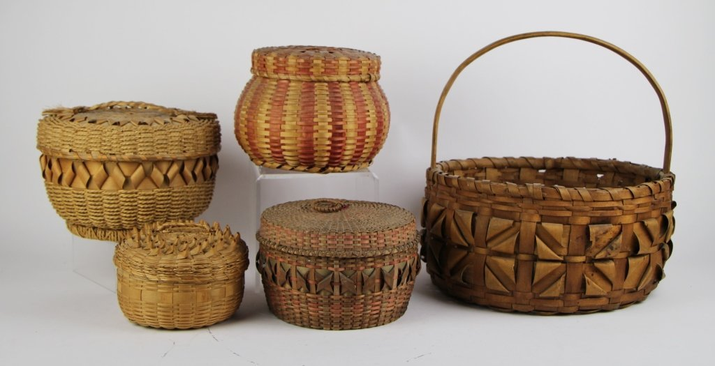 FIVE  NATIVE INDIAN BASKETS