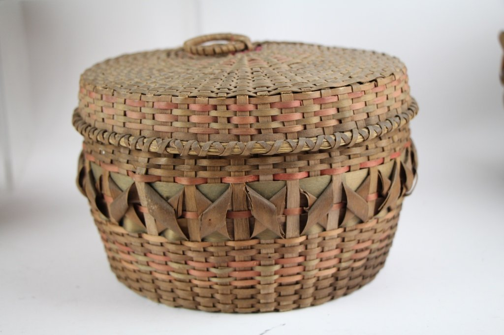 FIVE  NATIVE INDIAN BASKETS - 4