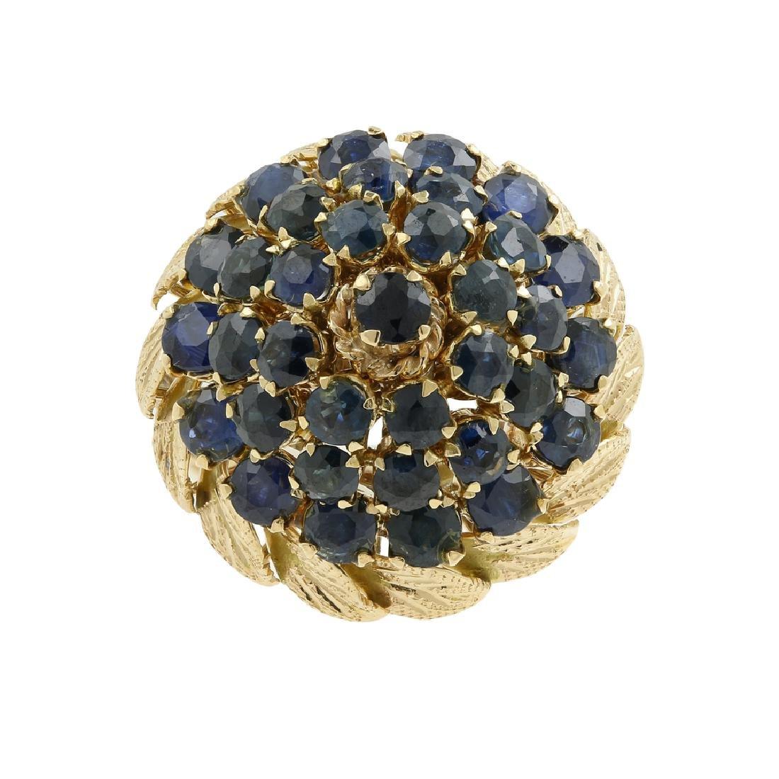 Vintage Estate 14K Yellow Gold Blue Spinel Cluster
